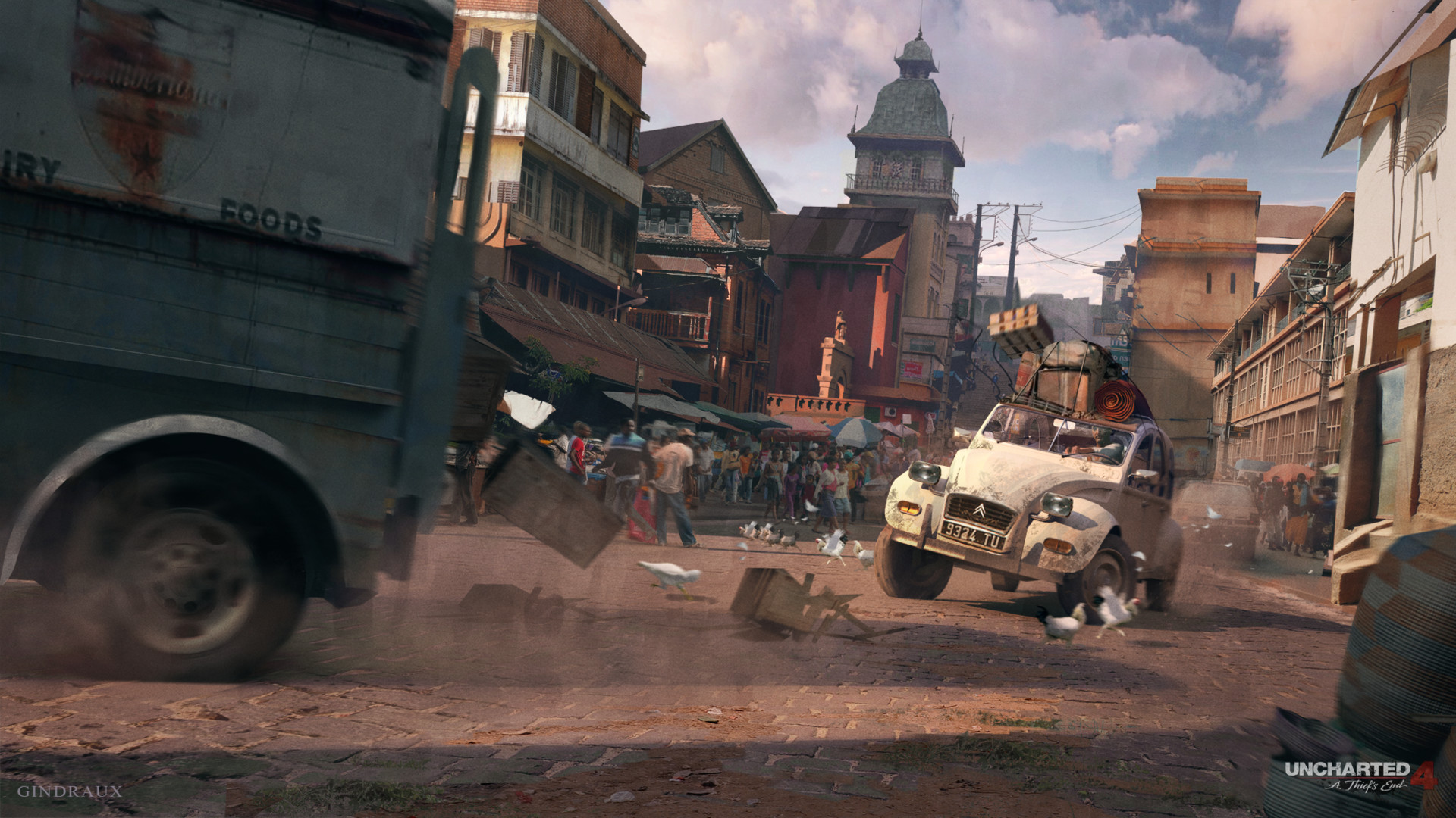 Uncharted 4 - Concept Art - Car Chase
