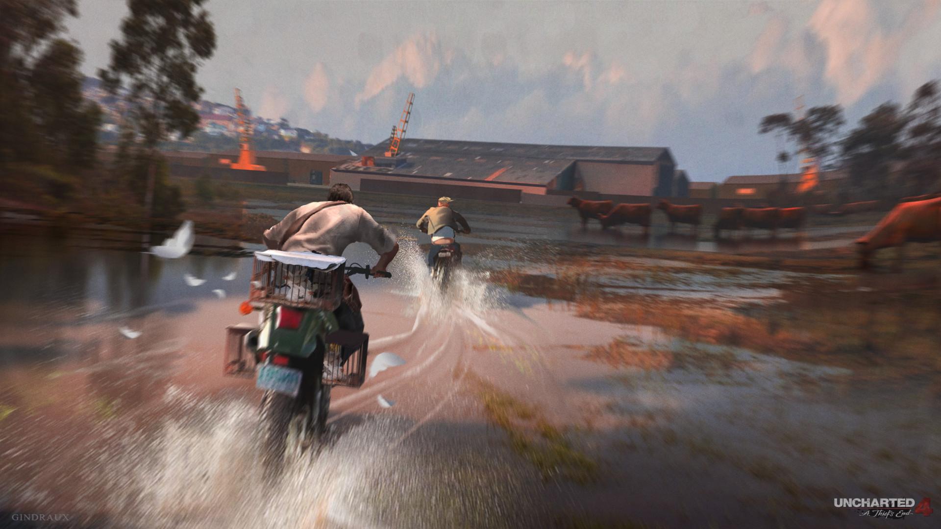 Uncharted 4 - Concept Art - Bike Chase